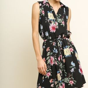 NWT Floral Print Button Front Tie Waist Midi Dress